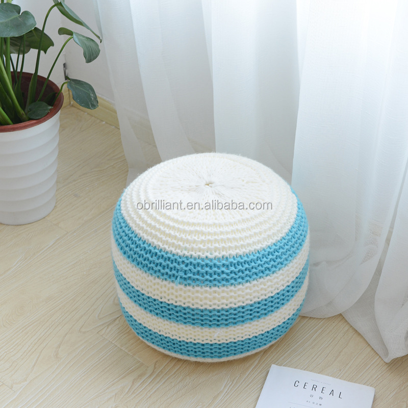Large Chunky Round Knit Pouf Living Bedroom Furniture Crochet Knit Stuffed Pouf Pouffe Cushion Floor Bean Bag Chair Footstool
