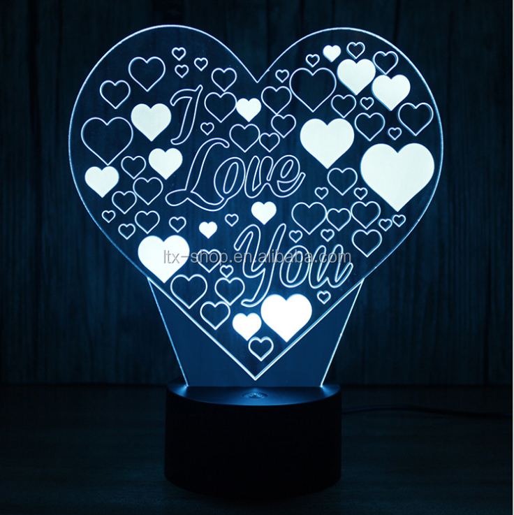 2017 New Style Simple Peach Hearts Shape Night Lampe, Intelligent 3D LED Seven Color Lighting Lamp with USB Power Generation