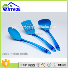 Colorful custom 3Pcs nylon material cooking utensils set nylon kitchen utensil