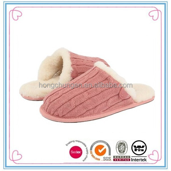 2015 fashion pink cable knit fur indoor <strong>slippers</strong> lady