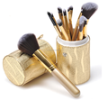 12pcs Golden duo fiber makeup brush set in PVC leather brush holder