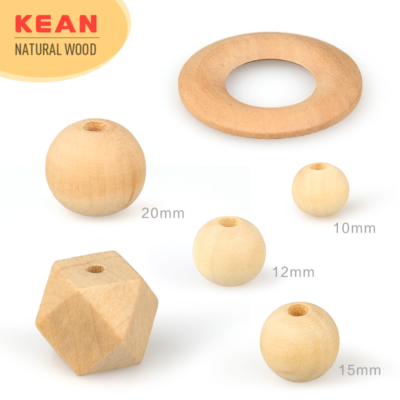 DIY craft accessories various size wood beads