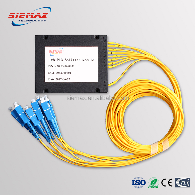 High Performance Fiber Optic PLC Splitter ABS Module Type SC UPC 1x8 for FTTH Network