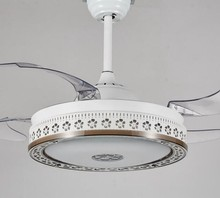 invisible blades ceiling fan with led lights 42 IN crystal ceiling light