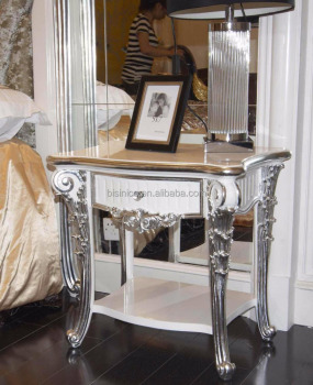 Louis XVI Style White and Silver Antique Fashion Fine Carved Detail Double Layer Night Stand