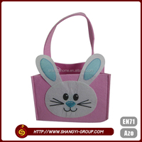 Pink Easter rabbit polyester felt gift tote promotion bag