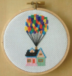 new fashion craft kit cross stitch kit wood hoop house balloon sewing diy embroidery kit needle point