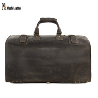 Antique Wholesale Vintage Style Genuine Leather Duffle Bag Italian Leather Luggage Bag Vintage Leather Carry on Luggage 3151