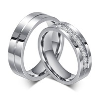 high quality 316l surgical steel diamond engagement ring for couples with high gloss
