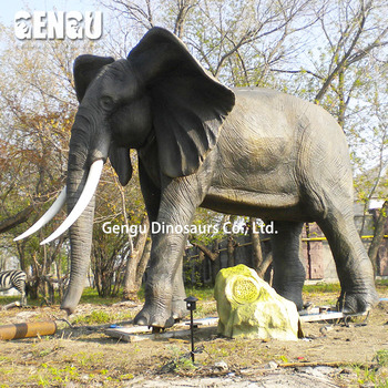 Park Fiberglass Resin Elephant Sculptures