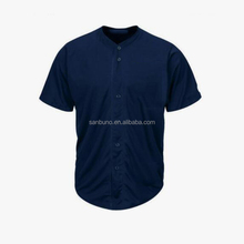 All over full printing customized button up nave blue color baseball jerseys