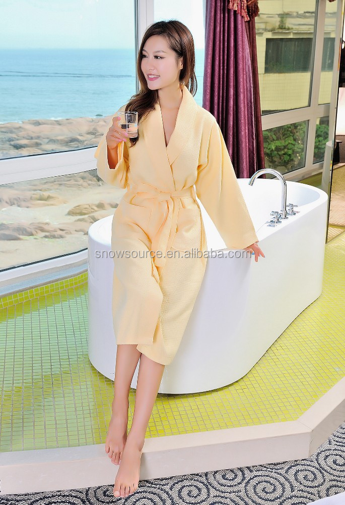 Hot sale yellow color waffle nice sex girls photos women printing bathrobes
