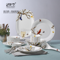 Luxury Fine Bone China dinnerware sets wholesale with bird decal as wedding gift