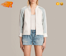 Custom Wholesale Women Striped Leather Bomber Jacket With zippered Pockets