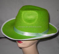 Green felt fedora gangster hats with white ribbon for sale