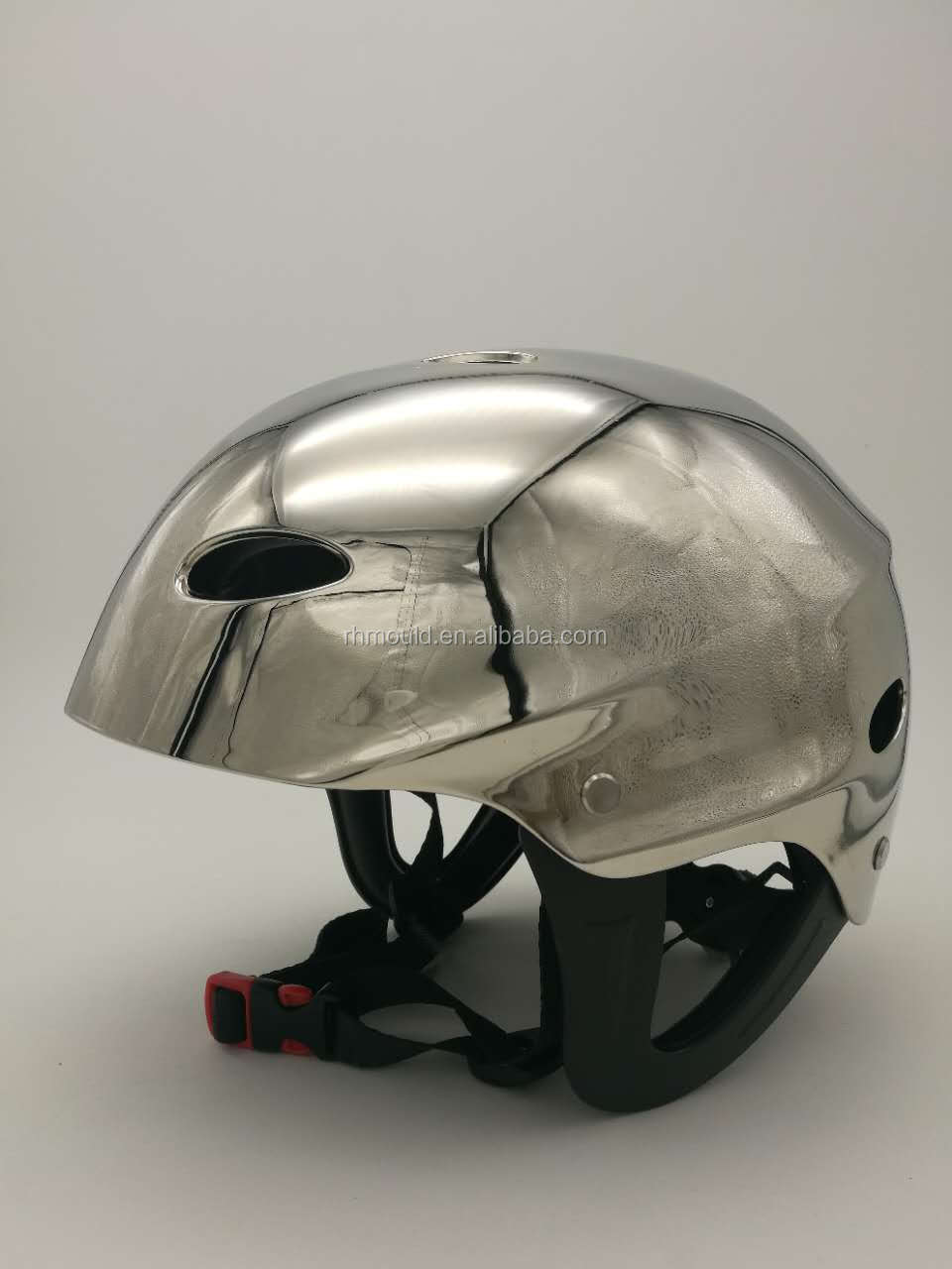 Attractive glossy silver color ABS kayak helmet