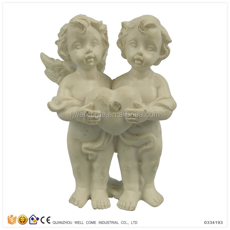 Resinic Gifts Holding Heart Twins Baby Angel Figurines