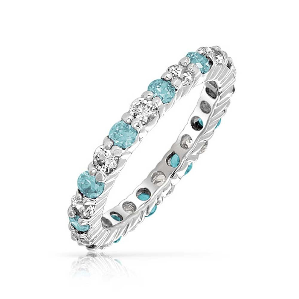 925 ETERNITY BAND RINGS Gemnel Jewelry Sterling Silver Simulated Aquamarine CZ March Eternity Birthstone Ring