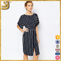 Closet Kimono Sleeve Midi Dress With Tie Back Detail And Split Front New Style Ladies Fashion Female dress