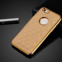 For iPhone 6 plus case, Luxury Alminum double color metal bumper with genuine leather back cover case,case for iphone 6 plus
