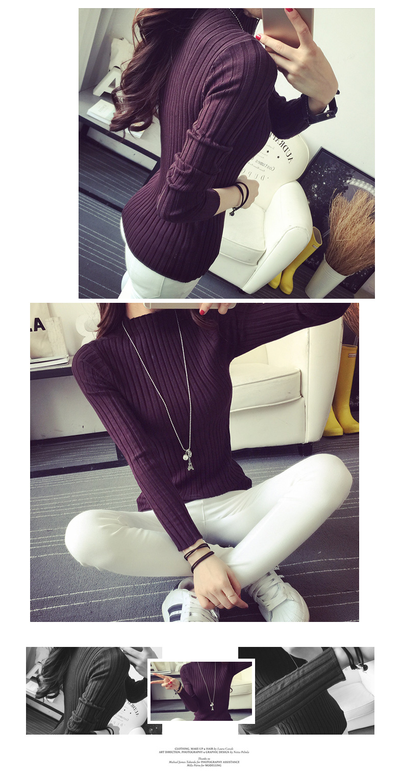 19 Autumn and winter New Korean Half turtleneck Sweater jacket Womens Long Sleeve Set head All-match knitted Sweater woman 35