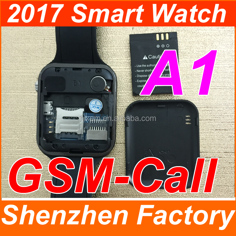 2017 China Factory New Launched Customized A1 GSM Low Cost Watch Mobile Phone with camera bluetooth