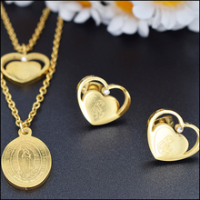 American fashion cheap 24k gold plated Catholic heart shaped jewelry earrings women charm jewelry sets