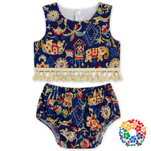 Elephant Cotton Fabric Broom Fringe Summer Tank Top and Baby Diaper Cover Set