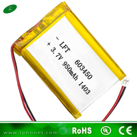 deep cycle 603450 lithium polymer battery 3.7v 950mah Ultrasonic wave battery