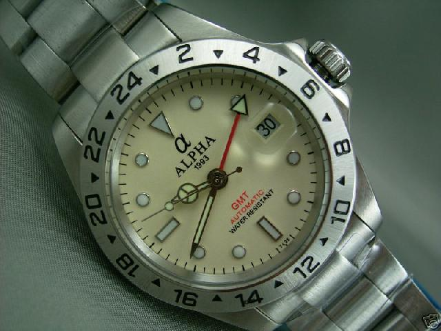 ALPHA EXPLORER GMT FUNCTION IVORY DIAL AUTOMATIC MANS WATCH