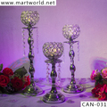 Torch light shaped candle holder with hanging crystals for wedding, silver centerpiece wedding table candelabra (CAN-031)