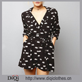New Fashion Romper Designs Black Swan Print V Neckline Collar Tie Waist 3/4 Sleeve Playsuit Jumpsuit