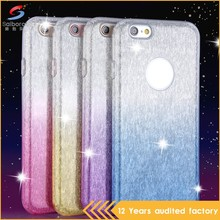 Best popular three in one PC tpu with glitter paper mobile phone case for iPhone 6 6s
