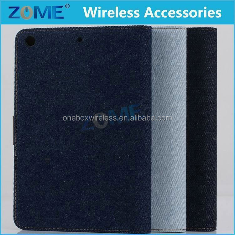 Alibaba For Ipad Mini 2 Light Blue Denim Cowboy Canvas Pu Leather Wallet Case For Ipad Mini 2