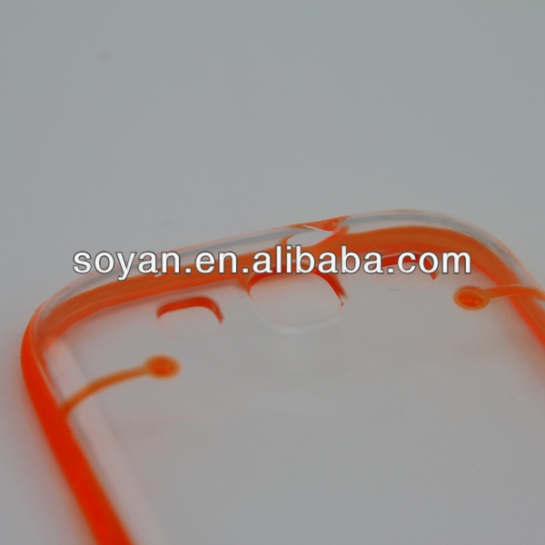 Most popular TPU Bumper+PC Transparent cases for Samsung Galaxy S3 i9300