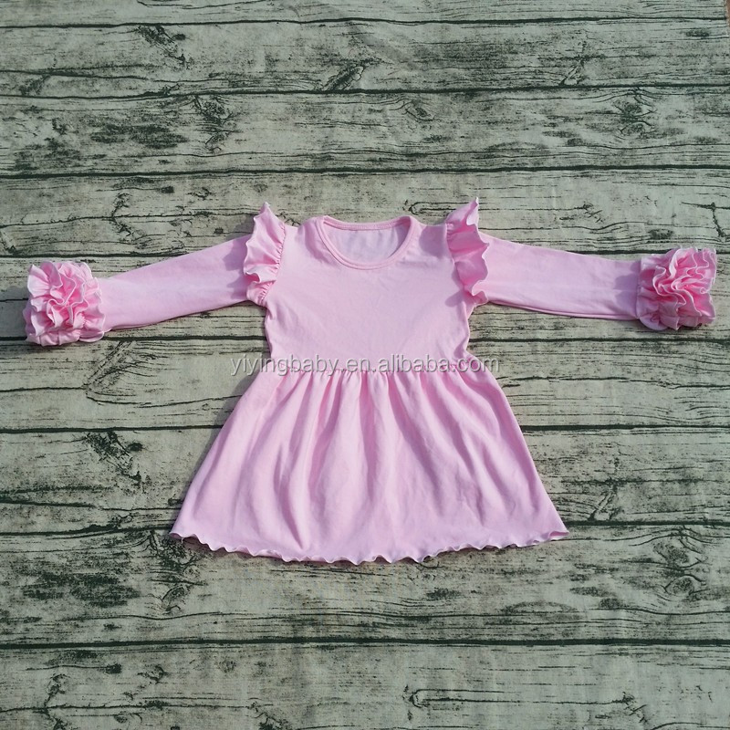 Wholasale Yiying New fashion baby girls cotton dresses children boutique frocks designs