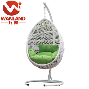 Bedroom rattan wicker cane hanging egg swing chair with stand