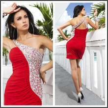 One Shoulder Beaded Mini Formal Latest Designs Custom Made Short Cocktail Occasion Party CD115 red short tight sexy dress