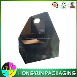 custom design black corrugated 6 bottle wine cardboard bottle carrier