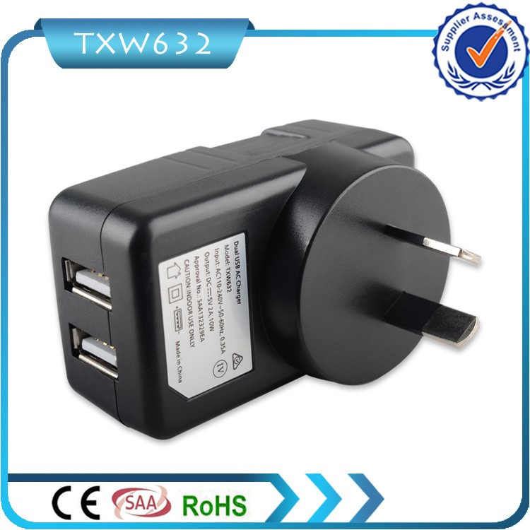 AU plug a couple of usb saa meps c-tick approved charger adapter