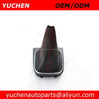 YUCHEN Car Shift Gear Knob Gaitor Frame With Black/ Red Stitches Leather Boot For VW Golf V 5 Golf VI 6 OEM 1K0 711 113