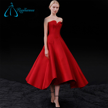 Customized A-Line Satin Red Sexy Formal Evening Dress