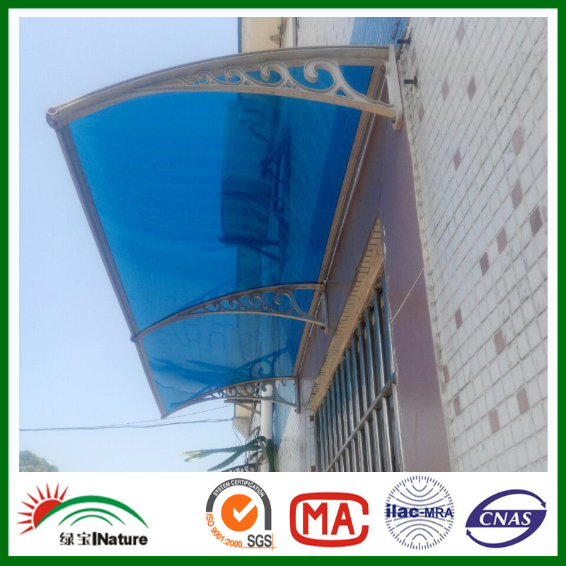 Door canopy and awning window awning bracket with polycarbonate roofing sheet
