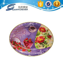 Oval shape with gold rim plastic deep dinner plates