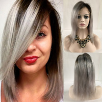 New Cheap grey Lace Front Wig Indian Virgin Human Hair Glueless Full Lace Wigs For Black Women