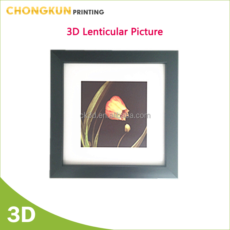 Luxury nice flower 3d lenticular picture with plastic frame for decoration