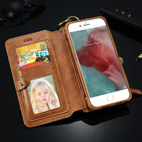 2016 For apple FLOVEME 6s Cell phone cover high quality real leather wallet case with card slot genuine leather case