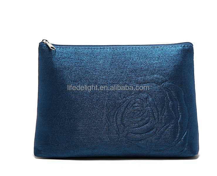 France fashion shining changing color material rose stamped bag for cosmetics, luxury bling bling make up bag
