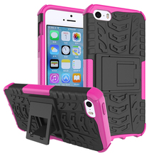 Factroy supplier tyre texture dazzle stand armor case for iPhone SE 5S