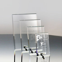 Wholesale custom engraved blank crystal glass trophy awards plaque with metal stand